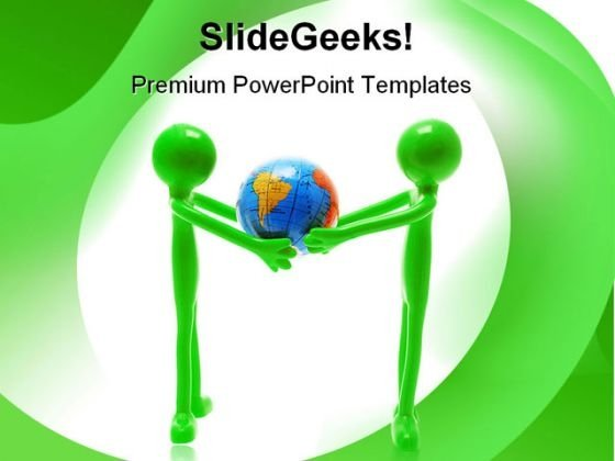Miniature Figures Holding Globe Abstract PowerPoint Templates And PowerPoint Backgrounds 0311