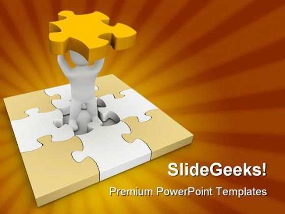 Missing Piece Of Puzzle Business PowerPoint Templates And PowerPoint Backgrounds 0311