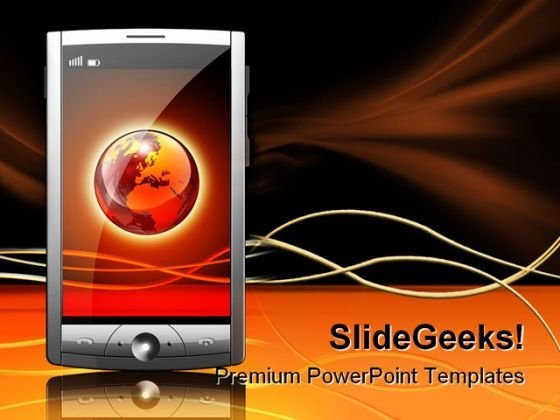 Mobile Device Internet PowerPoint Template 0810