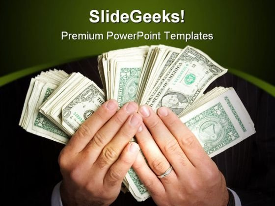 Money In Hand Business PowerPoint Template 0610
