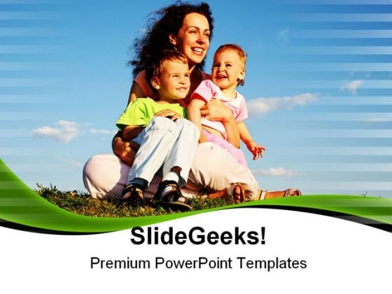 Mother With Children Family PowerPoint Themes And PowerPoint Slides 0711