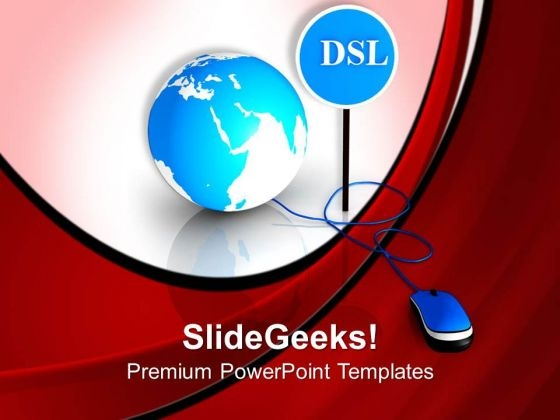 Mouse Connected To Globe And Dsl Internet PowerPoint Templates Ppt Backgrounds For Slides 0313