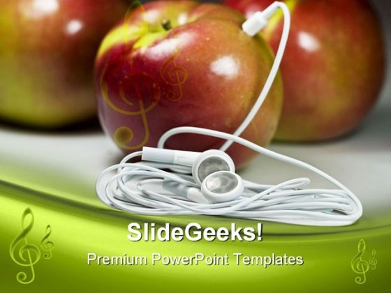 Mp3 Apple Food PowerPoint Themes And PowerPoint Slides 0311