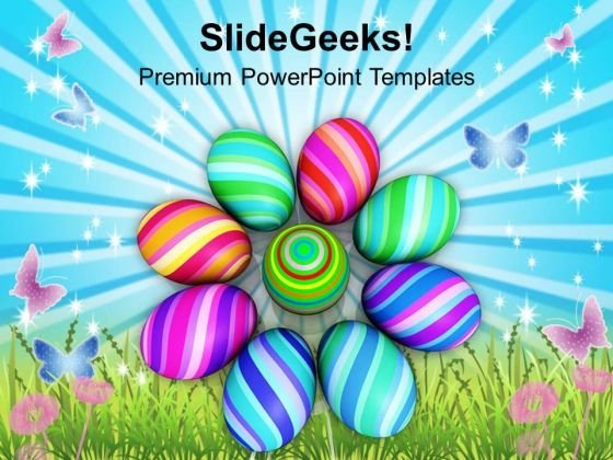 Multicolored Designer Easter Eggs PowerPoint Templates Ppt Backgrounds For Slides 0313