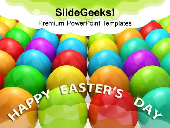 Multicolored Eggs Christian Festival PowerPoint Templates Ppt Backgrounds For Slides 0313