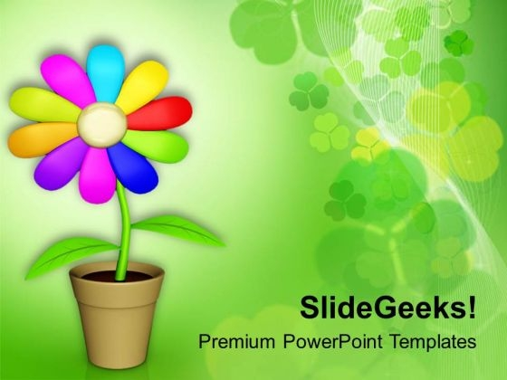 Multicolored Flower For Decoration Powerpoint Templates Ppt
