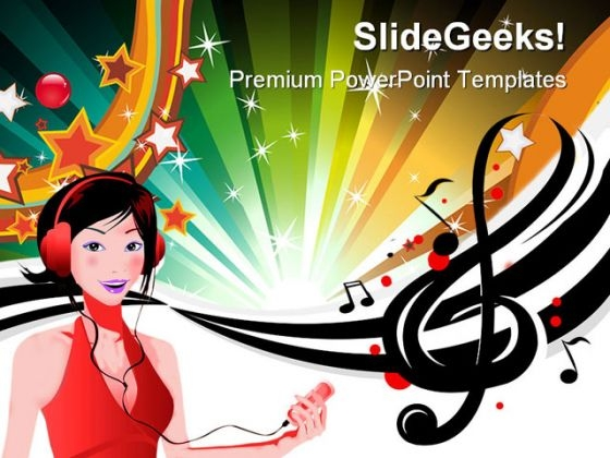 Music Girl Abstract PowerPoint Themes And PowerPoint Slides 0511