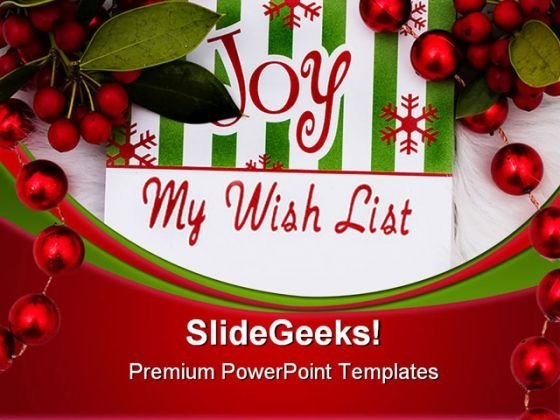 My Wish List Christmas PowerPoint Backgrounds And Templates 0111