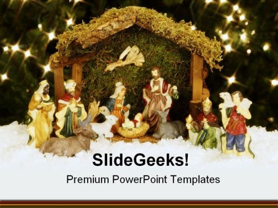 Nativity Christ Religion PowerPoint Template 0610