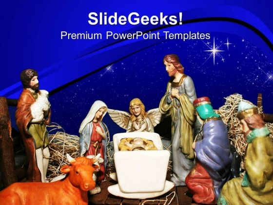 Nativity Scene Christian PowerPoint Templates And PowerPoint Themes 0812
