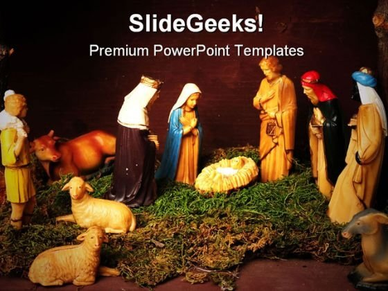 Nativity Scene Religion PowerPoint Template 0610