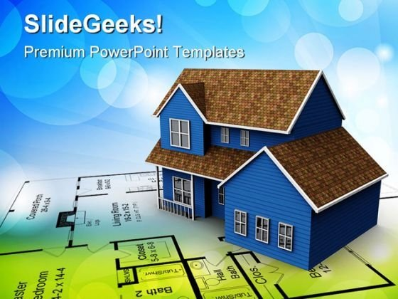 New House Plans Real Estate PowerPoint Themes And PowerPoint Slides 0711