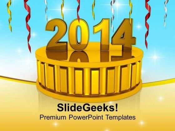 New Year 2014 On Golden Podium PowerPoint Template 1113
