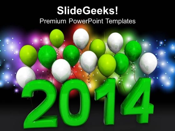 New Year 2014 With Balloons PowerPoint Template 1113