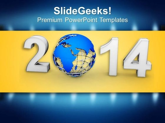 New Year 2014 With Globe PowerPoint Template 1113