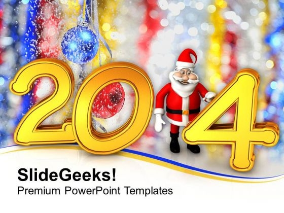 New Year 2014 With Santa PowerPoint Template 1113
