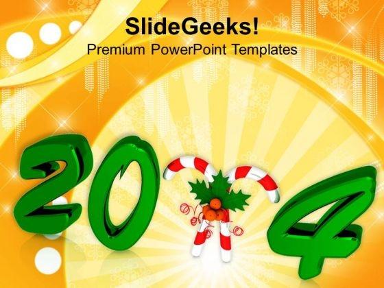 New Year Celebration 2014 Presentation Design PowerPoint Template 1113