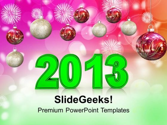 New Year Decoration With Unique Filigree Events PowerPoint Templates Ppt Backgrounds For Slides 1212