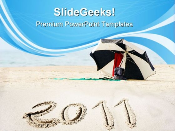 New Year On Beach Vacation PowerPoint Templates And PowerPoint Backgrounds 0711