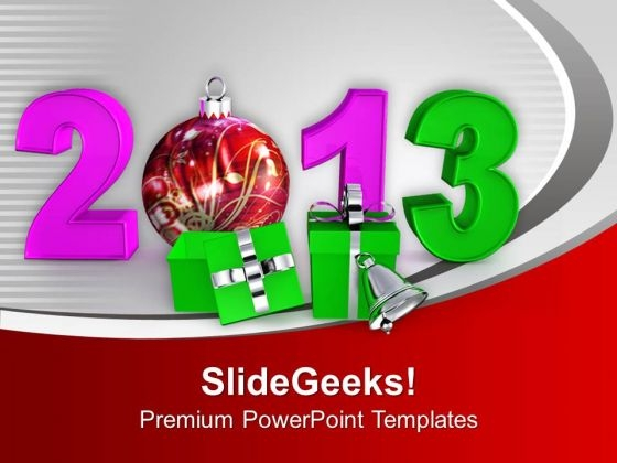 New Year Party Gifts Balls Bells 2013 PowerPoint Templates Ppt Backgrounds For Slides 0113