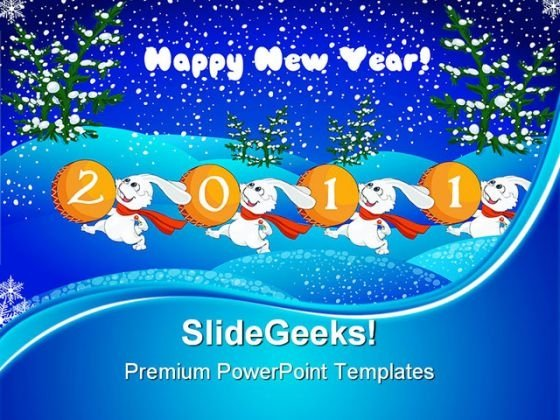 New Year Rabbits 2011 Future PowerPoint Themes And PowerPoint Slides 0411