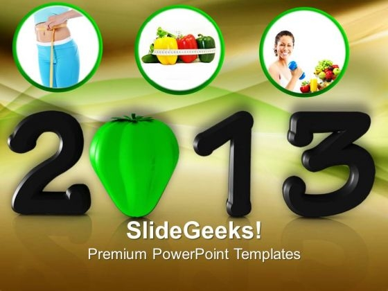 New Year With Nutritional Concept Health PowerPoint Templates Ppt Backgrounds For Slides 1212