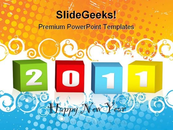 New Year Wood Blocks Symbol PowerPoint Themes And PowerPoint Slides 0511