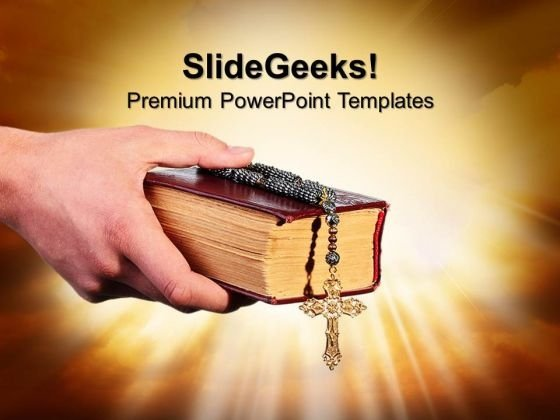 Old Bible With Cross Church PowerPoint Templates And PowerPoint Themes 0812
