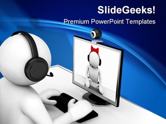 Online Chating Computer Internet PowerPoint Themes And PowerPoint Slides 0211
