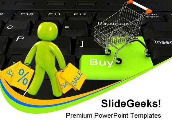 Online Shopping People PowerPoint Template 0910