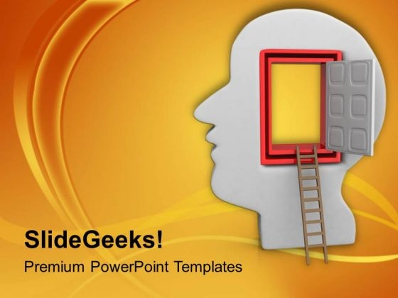 Open The Door Of Your Wisdom PowerPoint Templates Ppt Backgrounds For Slides 0613