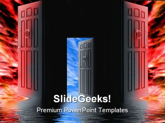 Opened Door Choices Symbol PowerPoint Themes And PowerPoint Slides 0511