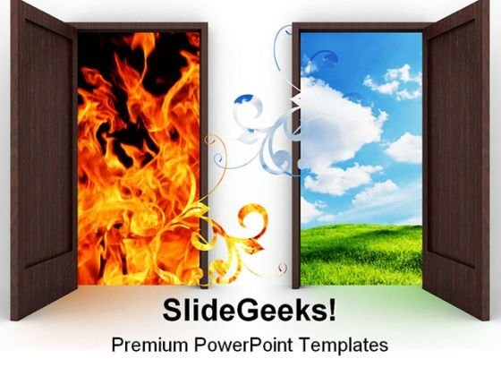 Opened Door Nature PowerPoint Template 0810