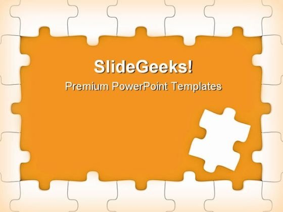 Orange Puzzle Frame Business PowerPoint Templates And PowerPoint Backgrounds 0411