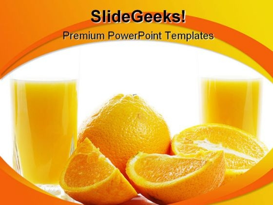 Orange With Juice Food PowerPoint Template 0810