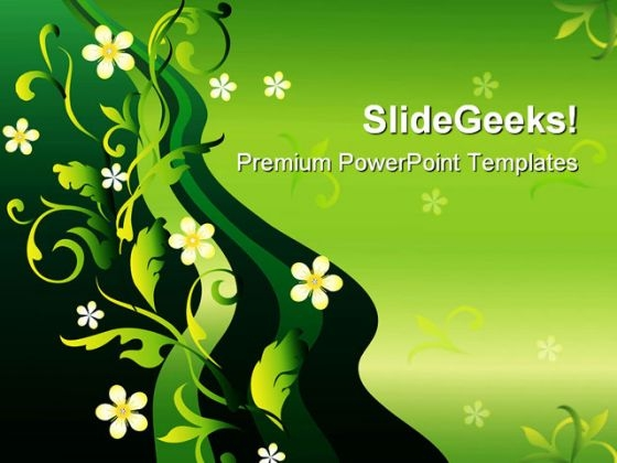 Ornament With Flowers Nature PowerPoint Themes And PowerPoint Slides 0711