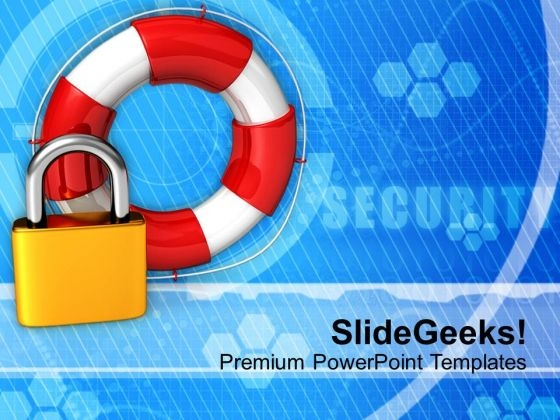 Padlock And Lifesaver Security Icons PowerPoint Templates Ppt Backgrounds For Slides 0113