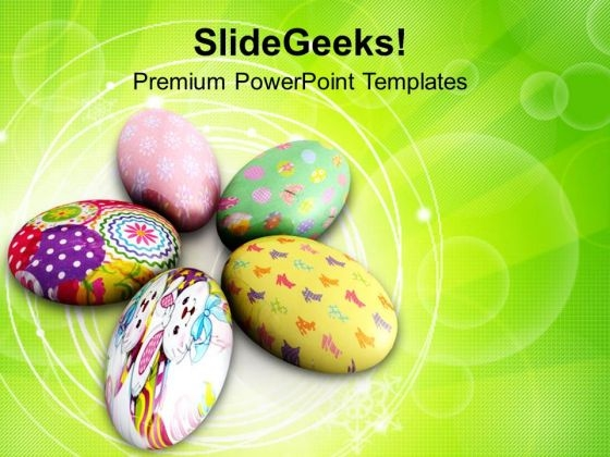 Painted Circular Easter Eggs Holidays PowerPoint Templates Ppt Backgrounds For Slides 0313