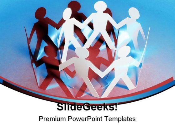 Paper Chain Dolls Teamwork PowerPoint Background And Template 1210