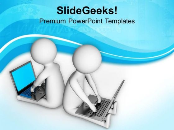 Partners Surfing On Internet PowerPoint Templates Ppt Backgrounds For Slides 0813