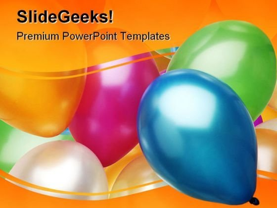 Party Balloons Festival PowerPoint Template 0810