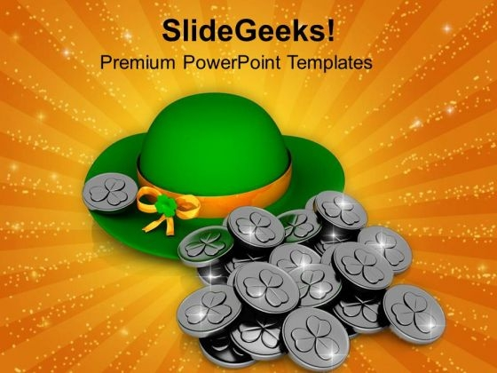 Patricks Hat And Silver Coins Symbol Of Wealth PowerPoint Templates Ppt Backgrounds For Slides 0313