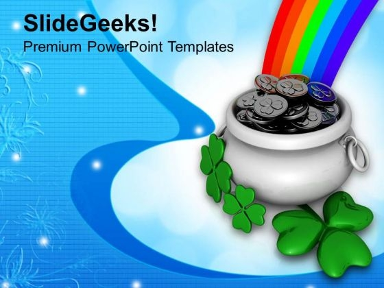 Patricks With Pot Coins Shamrock And Rainbow PowerPoint Templates Ppt Backgrounds For Slides 0313