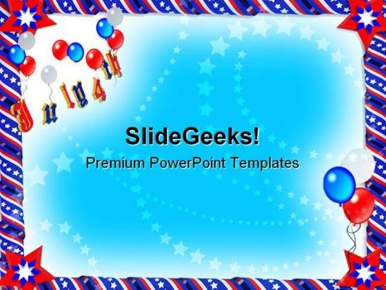 Patriotic Ribbons Americana PowerPoint Template 1110