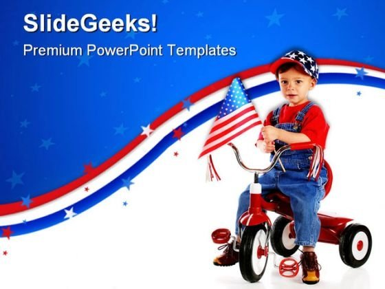 Patriotic Triker Children PowerPoint Templates And PowerPoint Backgrounds 0711