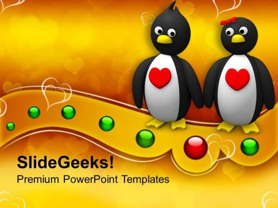 Penguin Couple Holding Hands Animal PowerPoint Templates Ppt Backgrounds For Slides 0213