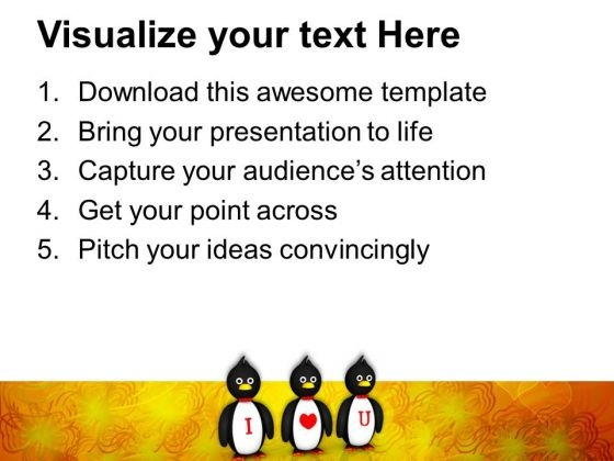 Penguins Showing I Love You Valentines PowerPoint Templates Ppt - Awesome valentine powerpoint backgrounds ideas