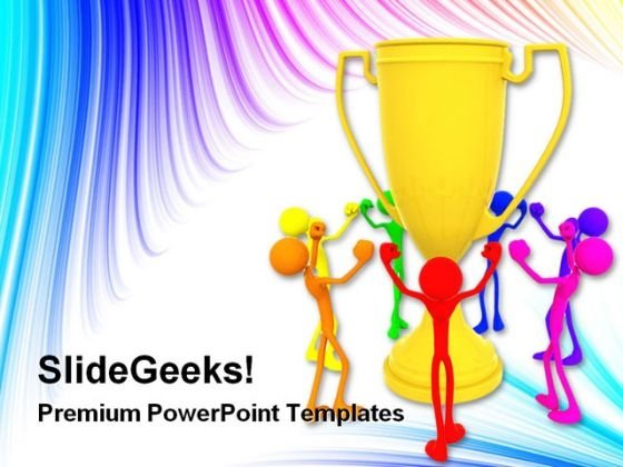 People Dancing Around Trophy Success PowerPoint Themes And PowerPoint Slides 0311