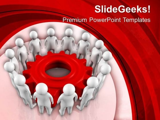 People Standing In Circle Around Gear PowerPoint Templates Ppt Backgrounds For Slides 0713