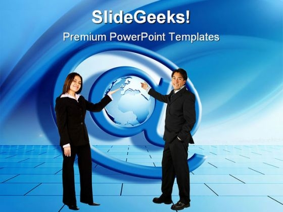 People With At Sign Globe PowerPoint Themes And PowerPoint Slides 0211